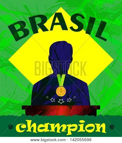 Abstract Brazil champion design with a man silhouette and first place medal .Digital vector image