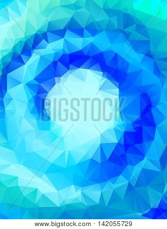 Vector abstract polygonal blue swirl background or frame with empty space