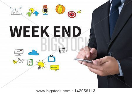 WEEK END businessman working use smartphone business man work