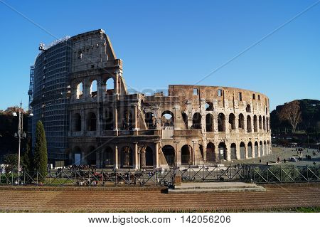 Coliseum from the outside in Rome Italy