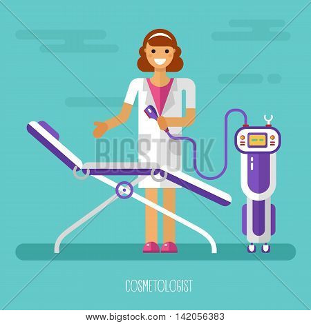 Vector flat design illustration of smiling Cosmetologist or Beautician with equipment.