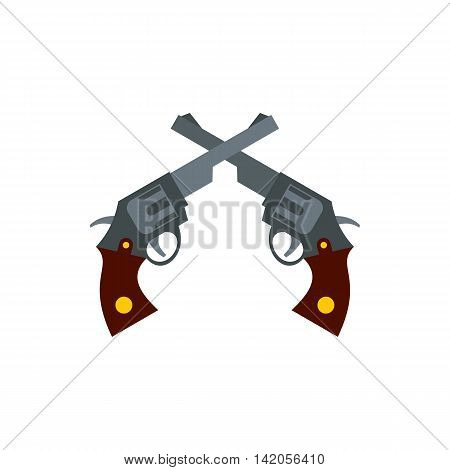 Crossed retro revolvers icon in flat style on a white background