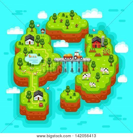 Flat vector isometric 3d rural landscape illustration with farm, houses, barn, garden, tractor, cow, duck, pond, chicken, bridge, tractor, islands. Farming, agricultural, organic products concept.