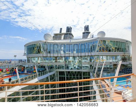 Barselona, Spaine - September 06, 2015: Royal Caribbean, Allure of the Seas sailing from Barselona on September 6 2015. The second largest passenger ship constructed behind sister ship Oasis of the Seas. The view of the upper deck