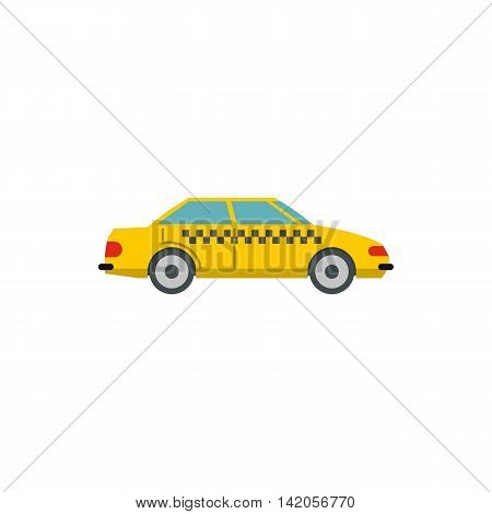 Yellow taxi car icon in flat style on a white background