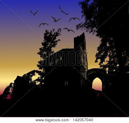 Dark scary halloween landscape with silhouette of castle and birds. Haunted mysterious castle in the forest