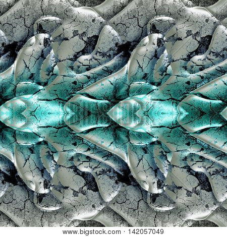 Abstract seamless rippling pattern reminiscent of molten cracked metal. Silver, blue and green layered metal background