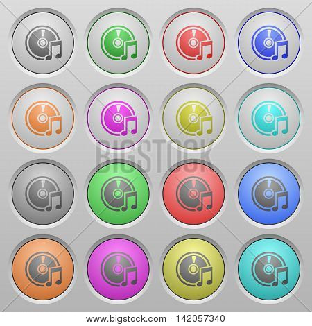 Set of Audio CD plastic sunk spherical buttons.