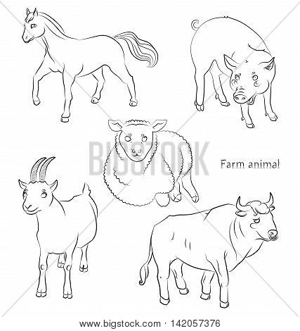 black and white image of a bull pig sheeep horse and goat - suitable for a child's coloring and not only. For your convenience each significant element is in a separate layer. eps10