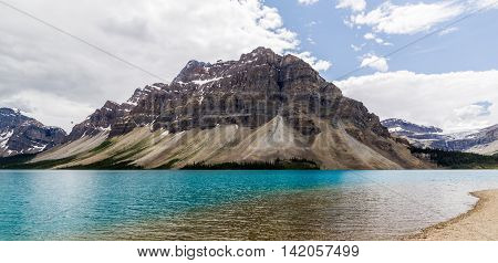 Alberta, Canada, Beautiful Bow Lake At Banff National Park