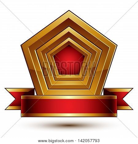 Heraldic vector template with golden outline 3d royal conceptual escutcheon with red decorative wavy ribbon. Eps8 aristocratic blazon isolated on white background.