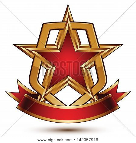 3d vector classic royal symbol sophisticated protection shield with golden star and red wavy stripe
