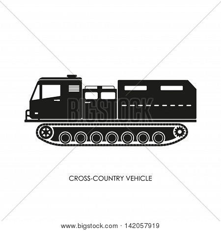 Silhouette of the cross-country vehicle on a white background. ATV track. Vector illustration