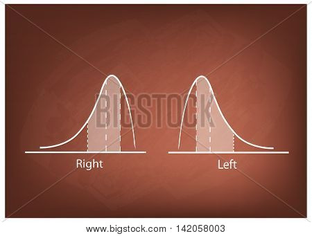 Business and Marketing Concepts Illustration of Positve and Negative Distribution Curve or Normal Distribution Curve and Not Normal Distribution Curve on Chalkboard Background.
