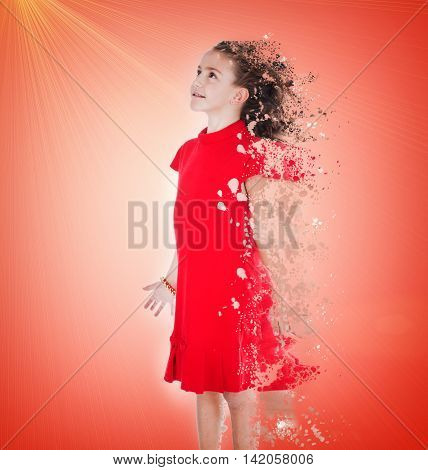 Little girl on a pink background dissolves