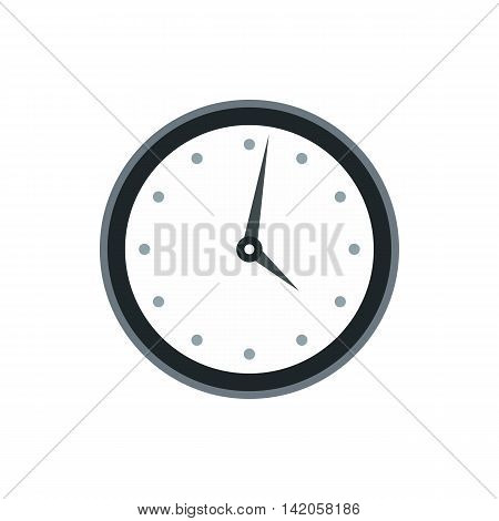 Wall clock with black rim icon in flat style on a white background