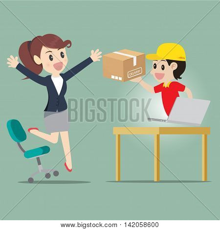 Business woman jump for kind shopping online and receive product delivery.illustration cartoon business concept.