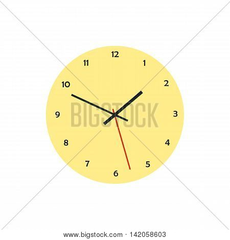 Round analog clock face icon in flat style on a white background