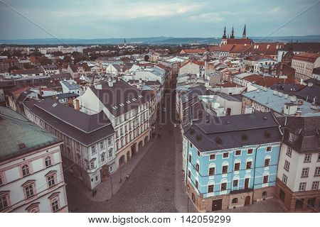 Streets And Houses In The Center Of The City Of Olomouc In The Czech Republic In The Summer Of Bird'