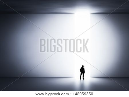 Businessman about to cross the entrance to the light. Concept of challenge in life, career etc. 3D illustration