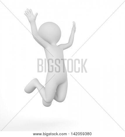 Toon man celebrating victory. Win, winner concept. White background. 3D illustration