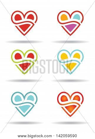 Love concept with abstract heart icon. Illustration set for your decoration.