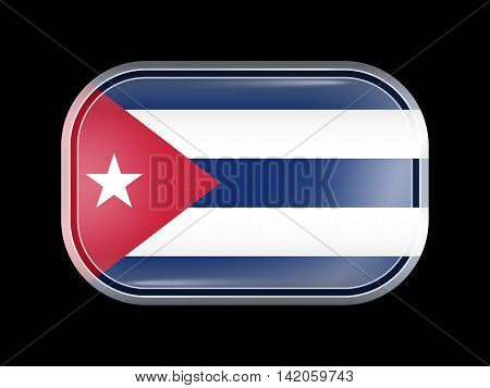 Flag Of Cuba. Rectangular Shape With Rounded Corners