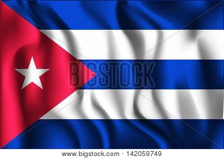 Flag Of Cuba. Rectangular Shape Icon With Wavy Effect
