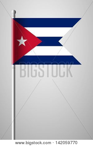 Flag Of Cuba. National Flag On Flagpole