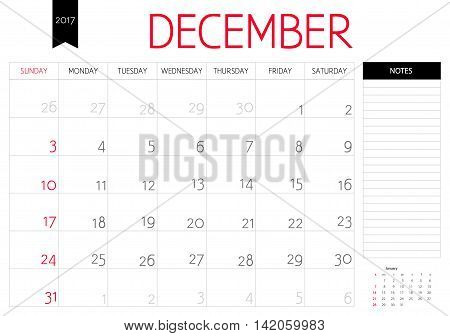 Vector Planning Calendar Of December  2017 With A Place For Notes. Weeks Start On Sunday