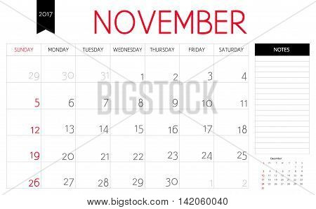 Vector Planning Calendar Of November 2017 With A Place For Notes. Weeks Start On Sunday