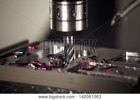 CNC drilling steel at work and bit tools