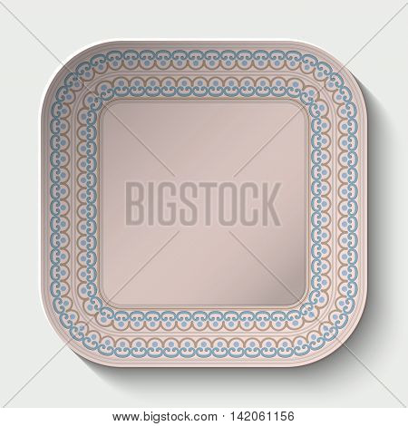 Rounded square plate with Rounded square plate with ornament stylized the ancient Roman pattern. Vector illustration.