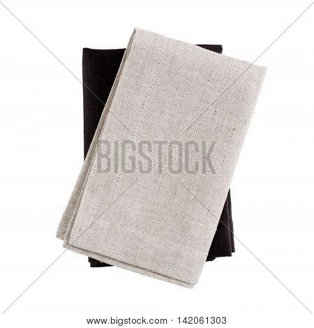 Folded fabric napkins isolated on white background