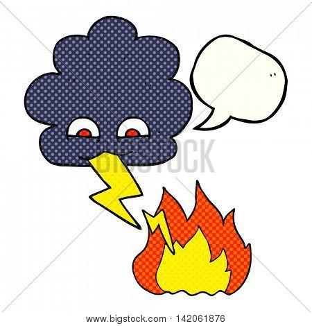 freehand drawn comic book speech bubble cartoon thundercloud lightning strike