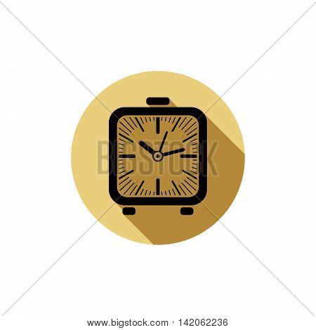 Time conceptual stylish icon simple desk clock placed in a circle.