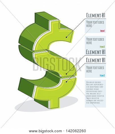Creative Infographics Template, Layered Dollar Sign Idea, Vector Layout Illustration.