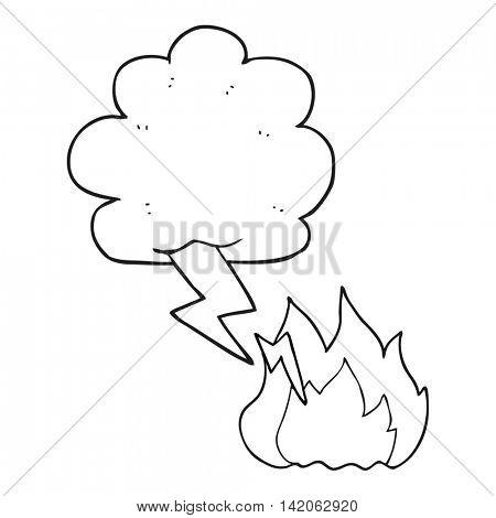 freehand drawn black and white cartoon thundercloud lightning strike