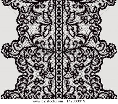 Seamless wide lace ribbon with delicate flowers. Vector illustration.
