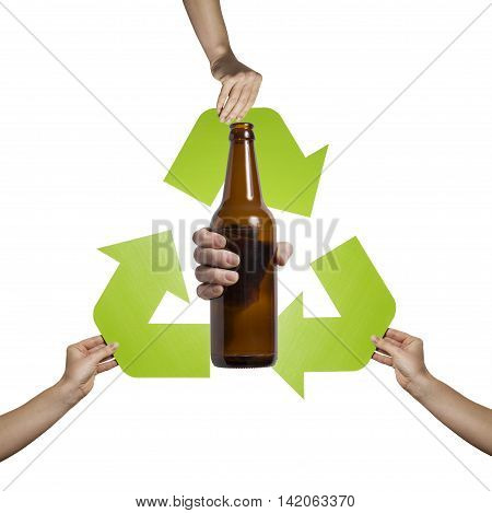 Glass material recycling- studio shot of a glass bottle isolated on white background