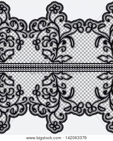 Seamless wide lace ribbon with openwork flowers. Vector illustration.