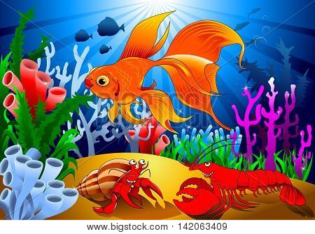 crab and goldfish in a beautiful coral reef vector