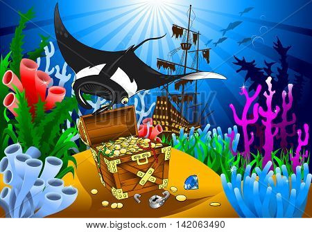 stingray has found the treasure on the seabed vector