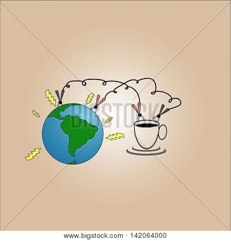 Energize the world by drinking coffee illustration.