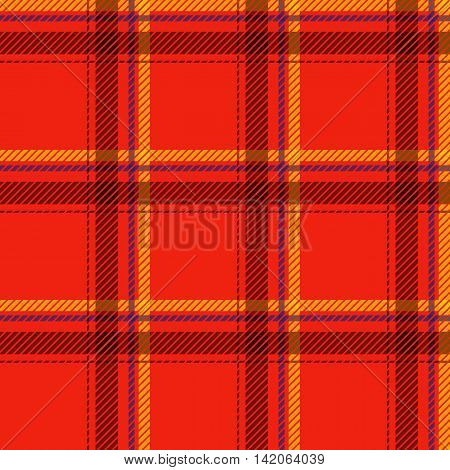 Seamless tartan pattern fabric. Cells black yellow and blue on a red background. Vector illustration.