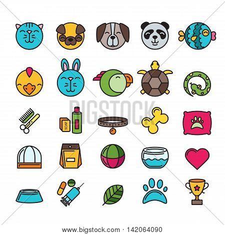 Vector Multicolor Contour Pet Shop, Zoo Or Veterinary Icons Set.