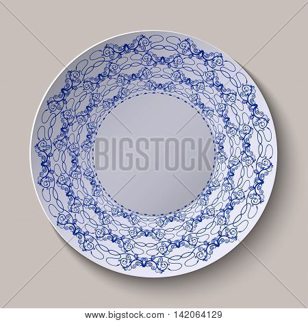 Round blue floral ornament ethnic style. Pattern shown on the ceramic plate. Vector illustration.