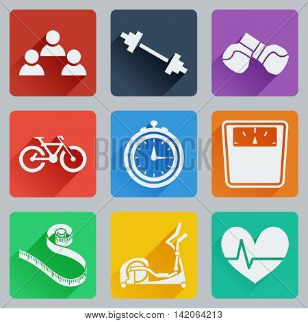 Set of colored square icons on fitness. Fashionable flat design with long shadows. Vector illustration.