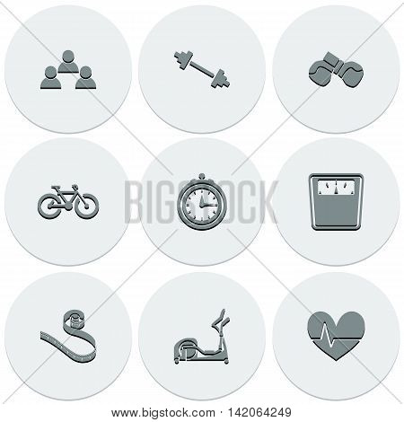 Set of light icons on round fitness. Fashionable flat design. Vector illustration.