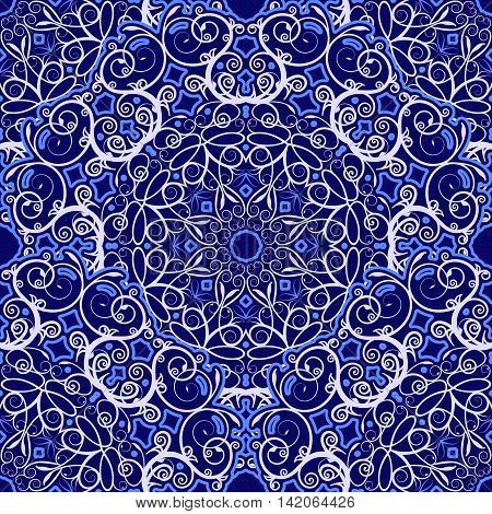 Seamless background of circular patterns. Navy blue ornament in ethnic style. Vector illustration.
